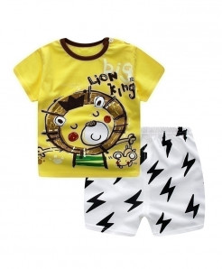 ABreeze Lion King Printed O-Neck Baby Boy Dress