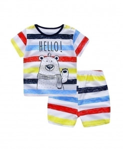 ABreeze Cartoon Printed O-Neck Baby Boy Dress