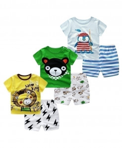 E BAINEL Pack Of 3 Short Sleeve Cotton Baby Boy Dress