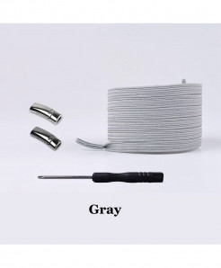 Gray Elastic Magnetic No Tie Shoe Laces