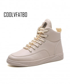 COOLVFATBO Khaki Breathable Canvas High Top Lace-Up Casual Boots
