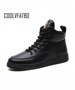 COOLVFATBO Black Breathable Canvas High Top Lace-Up Casual Boots