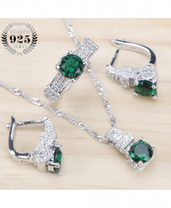 925 Sterling Silver Bridal Green Zirconia Stone Earrings Jewelry Set