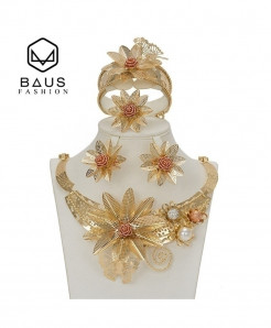 BAUS Floral Style Golden Bridal Jewelry Set