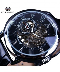 Forsining Black Silver 3D Logo Design Hollow Engraving Leather Skeleton Watch