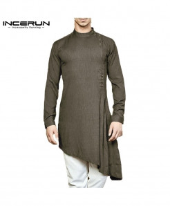 INCERUN Army Green Designer Long Sleeve Cotton Stylish Kurta