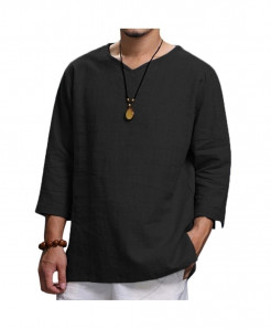 Harajuku Black Cotton Comfortable Three Quarter Sleeve Blouse Shirt