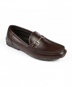 Choco Brown Leather Buckle Slip On Shoes LC-387