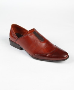 Maroon Leather Loafer Shoes LC-385