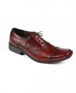 Maroon Leather Lace Up Shoes LC-384