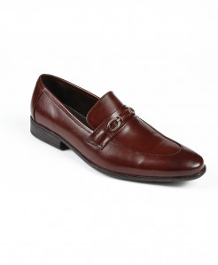 Choco Brown Leather Loafer Shoes LC-383