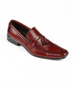 Maroon Tassel Leather Loafer Shoes LC-382