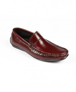 Maroon Leather Casual Shoes LC-380
