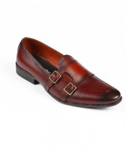 Maroon Leather Buckle Slip On Shoes LC-377