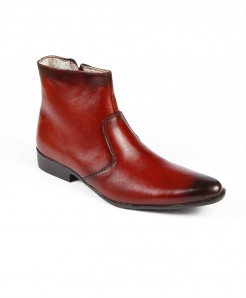 Maroon Ankle High Slip on Leather Shoes LC-376