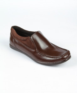 Choco Brown Leather Loafer Shoes LC-374