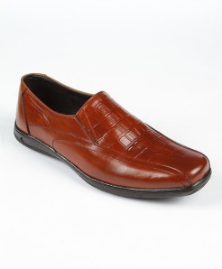 Brown Pattern Leather Casual Shoes LC-373