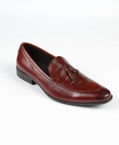 Choco Brown Tassel Leather Loafer Shoes LC-371