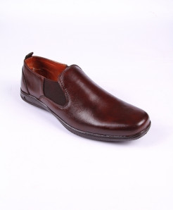 Choco Brown Leather Loafer Shoes LC-370