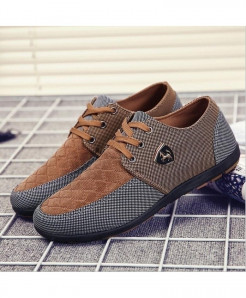 Brown Grey Canvas Shoes