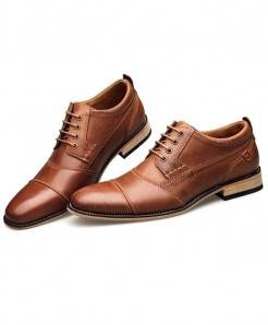 YIGER Brown Handmade Business Genuine Leather Lace-up Shoes