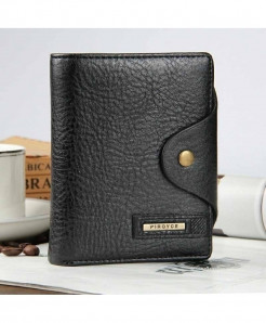 Baellerry Black Veritcal Leather Coin Pocket Zipper Wallet