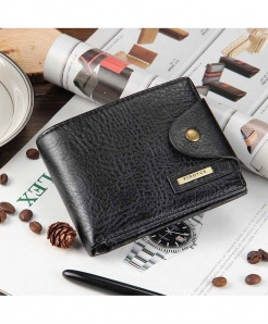 Baellerry Black Cross Leather Coin Pocket Zipper Wallet