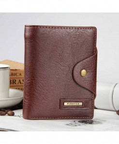 Baellerry Brown Vertical Leather Coin Pocket Zipper Wallet