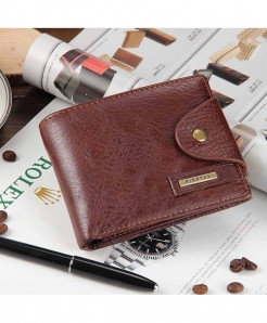 Baellerry Brown Cross Leather Coin Pocket Zipper Wallet