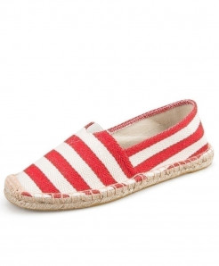 OUDINIAO Red Stripes Patchwork Breathable Canvas Jute Wrapped Loafers