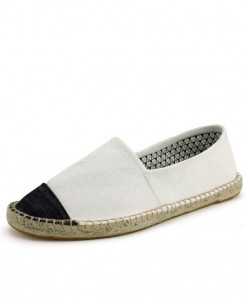 OUDINIAO White Patchwork Breathable Canvas Jute Wrapped Loafers