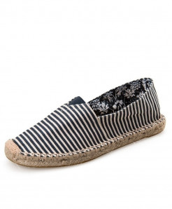 OUDINIAO Blue Lining Patchwork Breathable Canvas Jute Wrapped Loafers