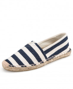 OUDINIAO Navy Stripes Patchwork Breathable Canvas Jute Wrapped Loafers