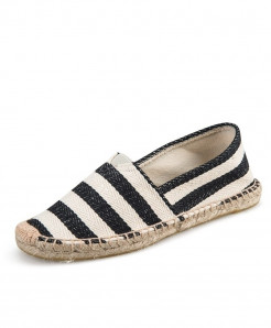 OUDINIAO Black Stripes Patchwork Breathable Canvas Jute Wrapped Loafers
