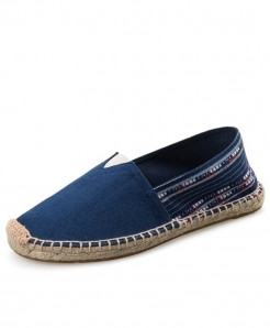 OUDINIAO Blue Patchwork Breathable Canvas Jute Wrapped Loafers