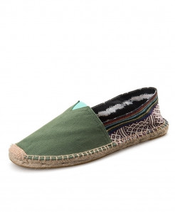 OUDINIAO Green Patchwork Breathable Canvas Jute Wrapped Loafers