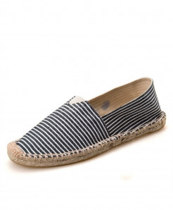 OUDINIAO Black White Lining Pattern Patchwork Breathable Canvas Jute Wrapped Loafers