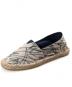 OUDINIAO Blue Lining Pattern Patchwork Breathable Canvas Jute Wrapped Loafers