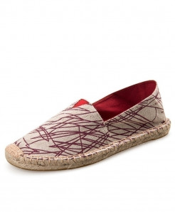 OUDINIAO Red Lining Pattern Patchwork Breathable Canvas Jute Wrapped Loafers