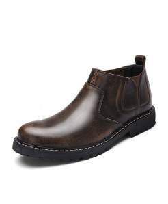 ZUNYU Brown Leather Ankle Slip-On High Top Boots