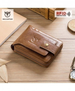 BULLCAPTAIN Brown Luxury Leather  Card Holder Wallet