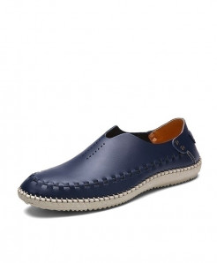 MIXIDELAI Navy Side Threaded Style Genuine Leather Moccasins Loafers