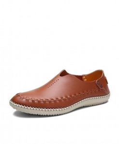 MIXIDELAI Brown Side Threaded Style Genuine Leather Moccasins Loafers