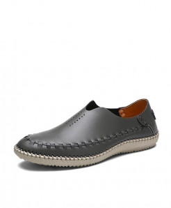 MIXIDELAI Gray Side Threaded Style Genuine Leather Moccasins Loafers