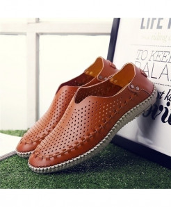 MIXIDELAI Brown Breathable Genuine Leather Moccasins Loafers