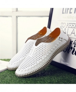 MIXIDELAI White Breathable Genuine Leather Moccasins Loafers