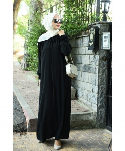 True Black Crew Neck Style Ladies Abaya FLK-411
