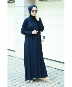 Dark Blue Crew Neck Style Ladies Abaya FLK-410