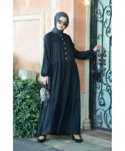 Navy Blue Button Frock Style Ladies Abaya FLK-407