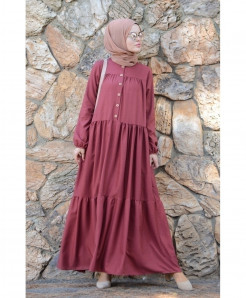 Brick Button Frock Style Ladies Abaya FLK-406
